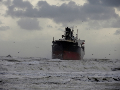 Wijk aa Zee, gestrand schip